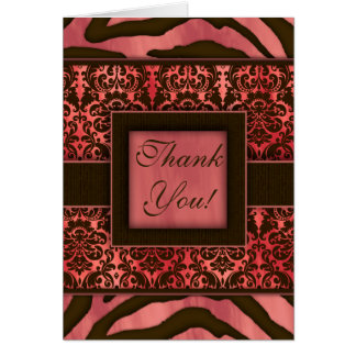 Elegant Thank You Cards Zebra Damask Coral