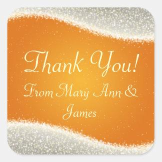 Elegant  Thank you Dazzling Sparkles Orange Square Sticker
