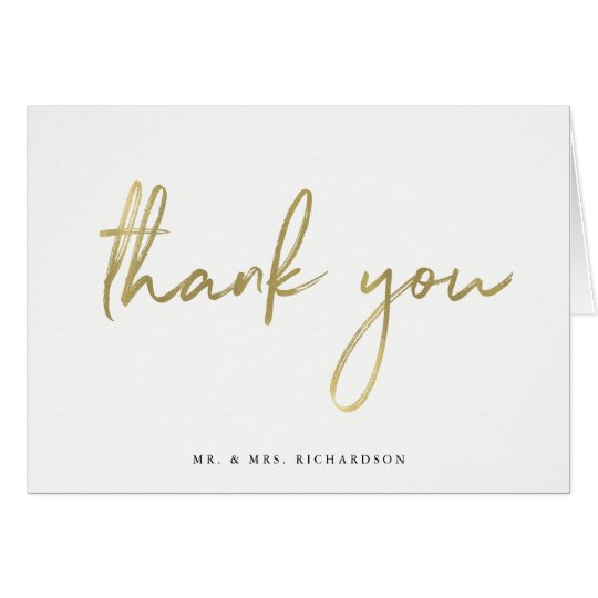 Elegant Thank You Faux Gold Script | Photo Inside Card