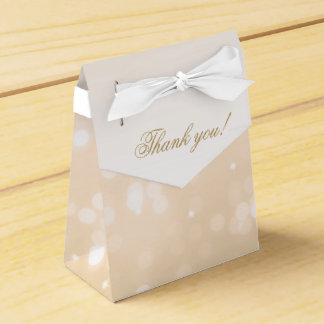 Elegant Thank You Gold Bokeh Sparkle Lights Favor Box