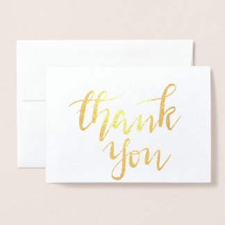 Elegant Thank You Handwritten Script Wedding Foil Card