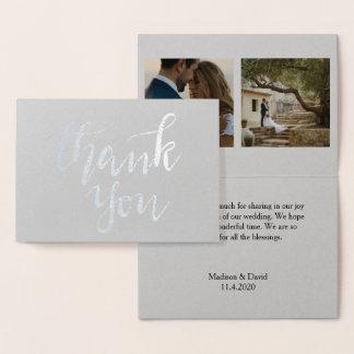 Elegant Thank You Handwritten Script Wedding Photo Foil Card