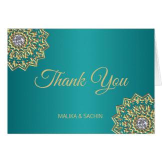 Elegant THANK YOU Indian Mandala Teal Blue wedding Card