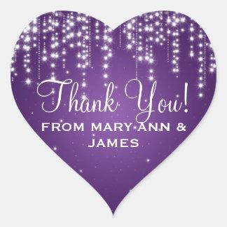 Elegant  Thank you Night Dazzle Purple Heart Sticker