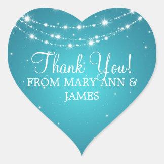 Elegant  Thank you Sparkling Chain Blue Heart Sticker