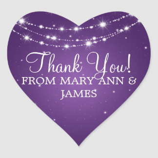 Elegant  Thank you Sparkling Chain Purple Heart Sticker