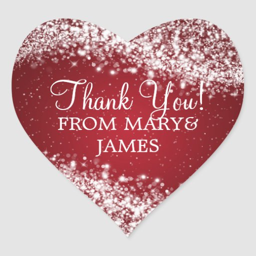 Elegant  Thank you Sparkling Wave Red Heart Sticker