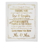elegant Thank You table wedding signs gold
