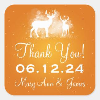 Elegant Thank you Winter Deer Sparkle Orange Square Sticker