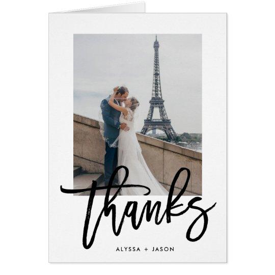 Elegant Thanks   Wedding Photo Card