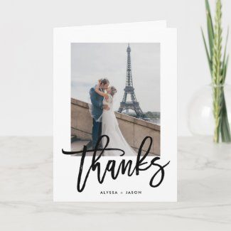 Elegant Thanks | Wedding Photo Thank You Card