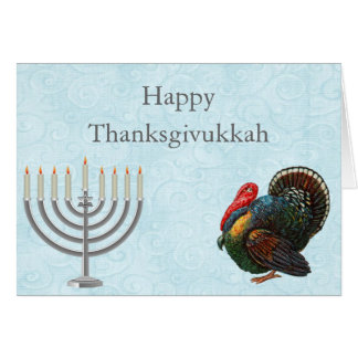 Elegant Thanksgivukkah Greeting Card