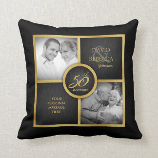 "Elegant ""then and now"" Black and Gold 50th Wedding Throw Pillow"