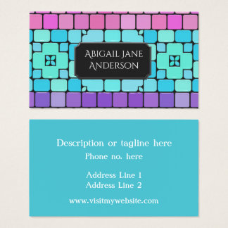 Elegant Tiles - Pink, Aqua & Purple - Customize Business Card