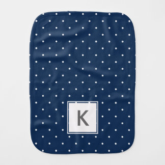 elegant tiny navy blue white polka dots pattern burp cloth