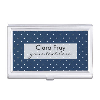 elegant tiny navy blue white polka dots pattern business card holder