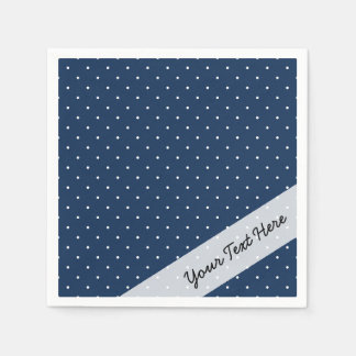 elegant tiny navy blue white polka dots pattern disposable napkins
