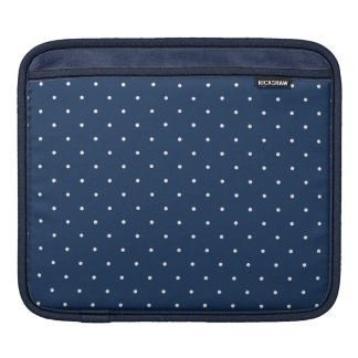 elegant tiny navy blue white polka dots pattern iPad sleeve