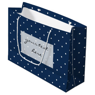 elegant tiny navy blue white polka dots pattern large gift bag