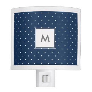 elegant tiny navy blue white polka dots pattern night lights