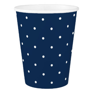 elegant tiny navy blue white polka dots pattern paper cup
