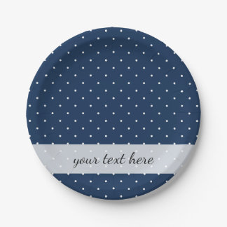 elegant tiny navy blue white polka dots pattern paper plate
