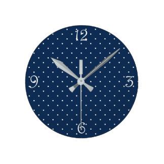 elegant tiny navy blue white polka dots pattern round clock