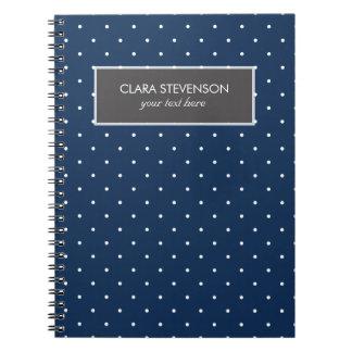 elegant tiny navy blue white polka dots pattern spiral notebook