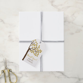 Elegant tree with gold foil leaves modern wedding pack of gift tags