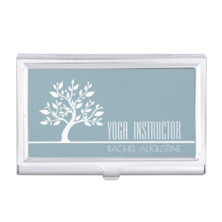Elegant Tree Yoga Instructor Wellness Life Coach Business Card Holder