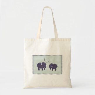 Elegant trendy cute elephants in love tote bag