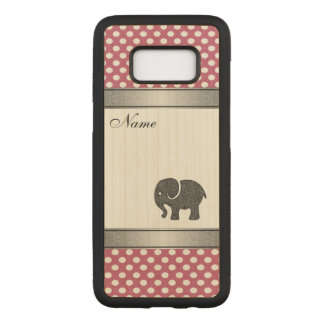 Elegant trendy  elephant polka dots personalized carved samsung galaxy s8 case