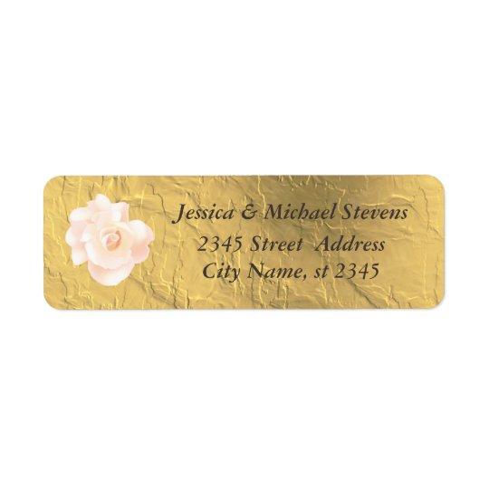 Elegant trendy faux gold  vintage romantic rose return address label
