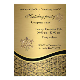 Elegant trendy gold damask holiday party corporate card