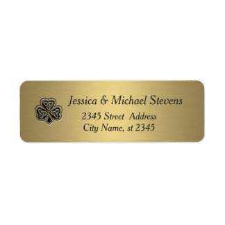 Elegant trendy lucky Irish shamrock gold Return Address Label