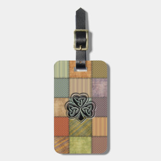Elegant trendy lucky Irish shamrock patchwork Luggage Tag