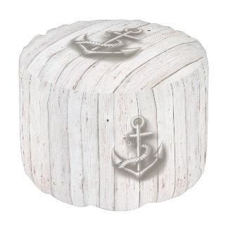Elegant trendy nautical vintage wooden anchors pouf