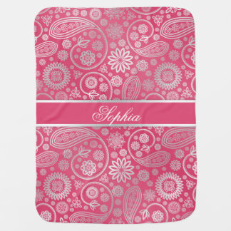 Elegant trendy paisley floral pattern illustration baby blanket