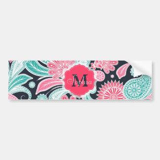 Elegant trendy paisley floral pattern illustration bumper sticker