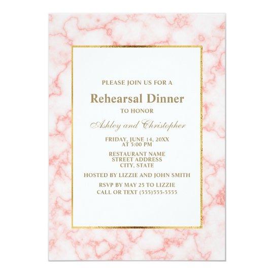 Elegant Trendy Pink Marble Wedding Rehearsal Card