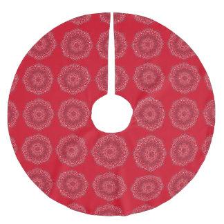 Elegant Tribal Mandala Pattern Design Red Silver Brushed Polyester Tree Skirt