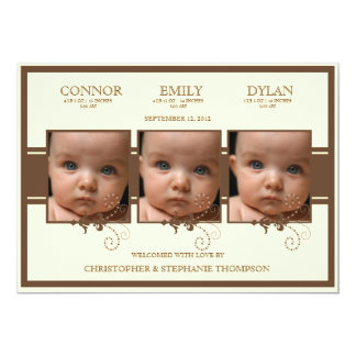 Elegant Triplet Photo Baby Birth Announcement