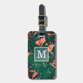 Elegant Tropical Floral Modern Gold Frame Monogram Bag Tag