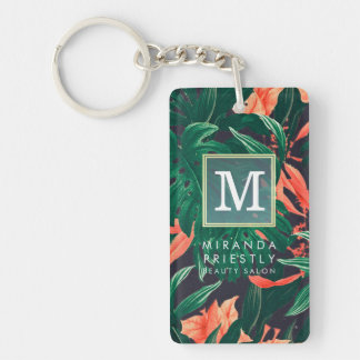 Elegant Tropical Floral Modern Gold Frame Monogram Double-Sided Rectangular Acrylic Keychain