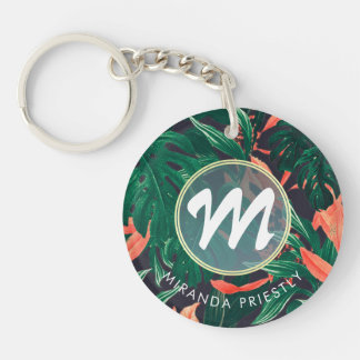 Elegant Tropical Floral Modern Gold Frame Monogram Double-Sided Round Acrylic Keychain