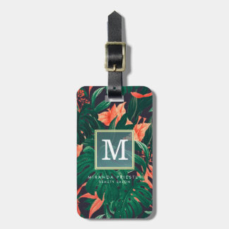 Elegant Tropical Floral Modern Gold Frame Monogram Luggage Tag