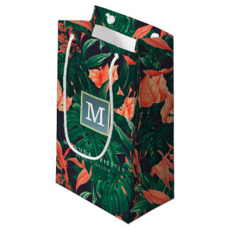Elegant Tropical Floral Modern Gold Frame Monogram Small Gift Bag