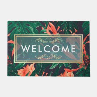 Elegant Tropical Floral Modern Gold Frame Welcome Doormat