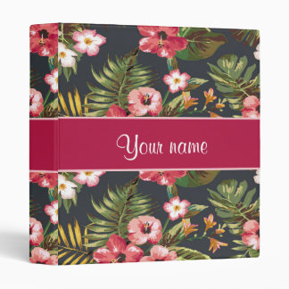 Elegant Tropical Hibiscus Flowers and Leaves 3 Ring Binders