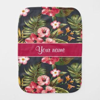 Elegant Tropical Hibiscus Flowers and Leaves Burp Cloths